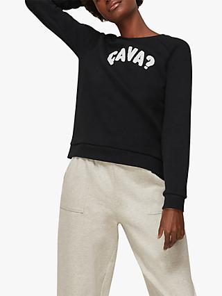 Whistles Ca Va Cotton Sweatshirt, Black