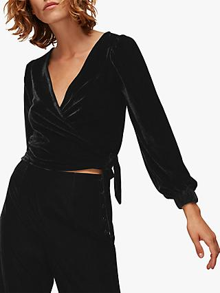 Whistles Velvet Wrap Top, Black