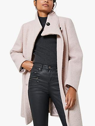 Mint Velvet Longline Teddy Coat, Pale Pink