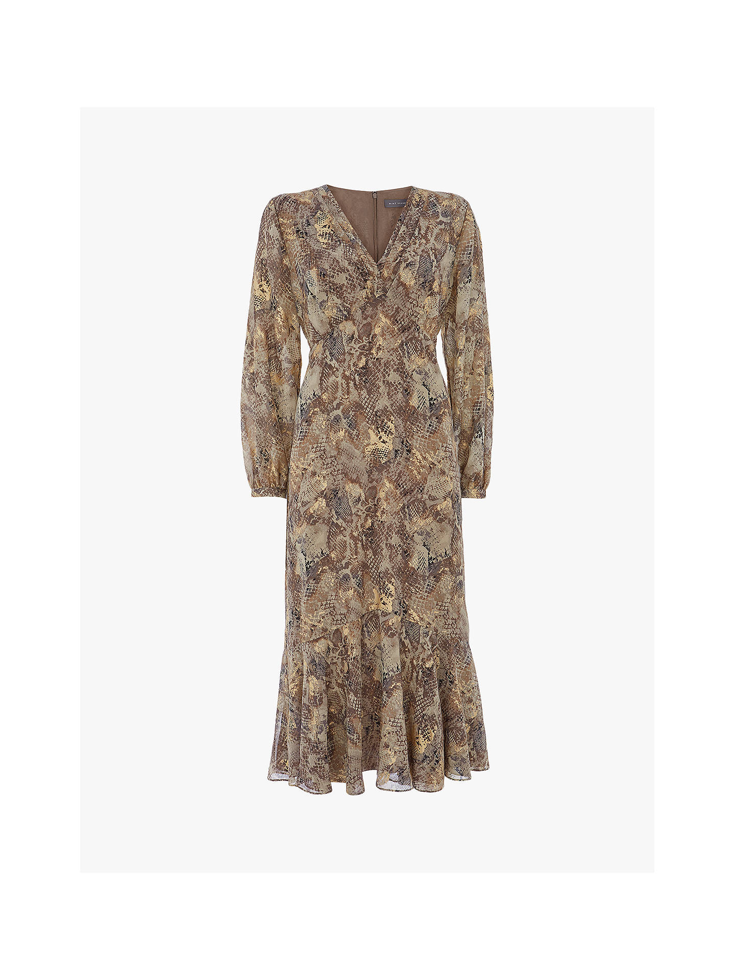 Buy Mint Velvet Violet Snake Print Midi Dress, Multi, 6 Online at johnlewis.com