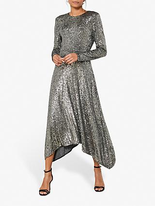 Mint Velvet Sequin Midi Dress, Gunmetal