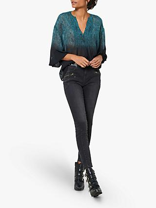 Mint Velvet Astra Boho Blouse, Black/Blue