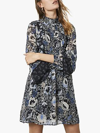 Mint Velvet Madeline Floral Mini Dress, Black