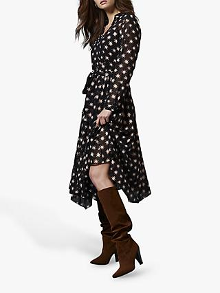 Mint Velvet Luna Star Print Semi Sheer Midi Dress, Black