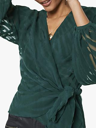 Mint Velvet Tiger Pattern Wrap Blouse, Dark Green