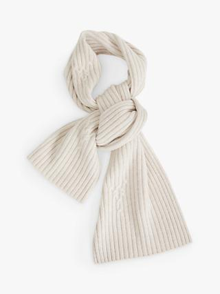 Jigsaw Cable Wool Scarf, Cream