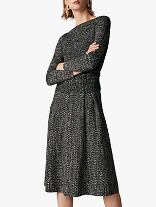 The Fold Camelot Herringbone Tweed Dress, Grey