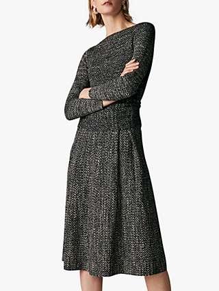 The Fold Camelot Herringbone Tweed Dress, Grey