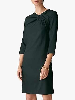 The Fold Harlescott Wool Crepe Shift Dress, Green