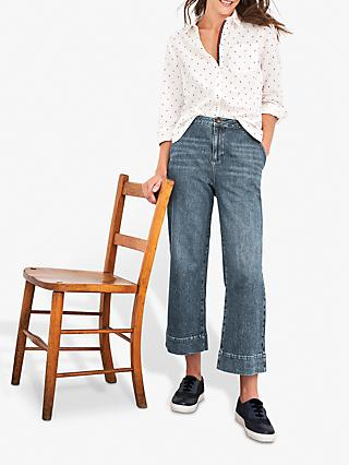 White Stuff Thea Wide Leg Cropped Jeans, Mid Denim
