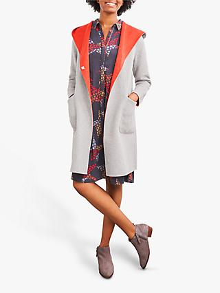 White Stuff Bailey Reversible Wool Blend Coat, Light Grey Marl