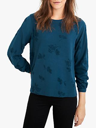 White Stuff Texture Jersey Top, Mid Teal