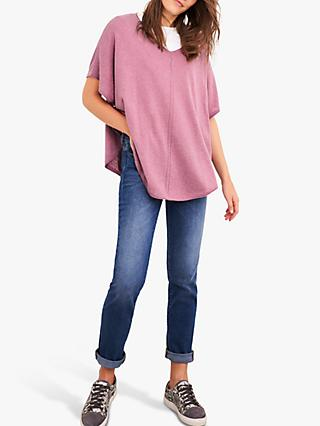 White Stuff Gauzy V-Neck Poncho, Dusty Pink