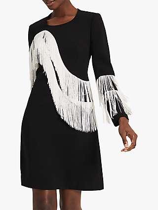 Damsel in a Dress Abline Tassel Dress, Black/White