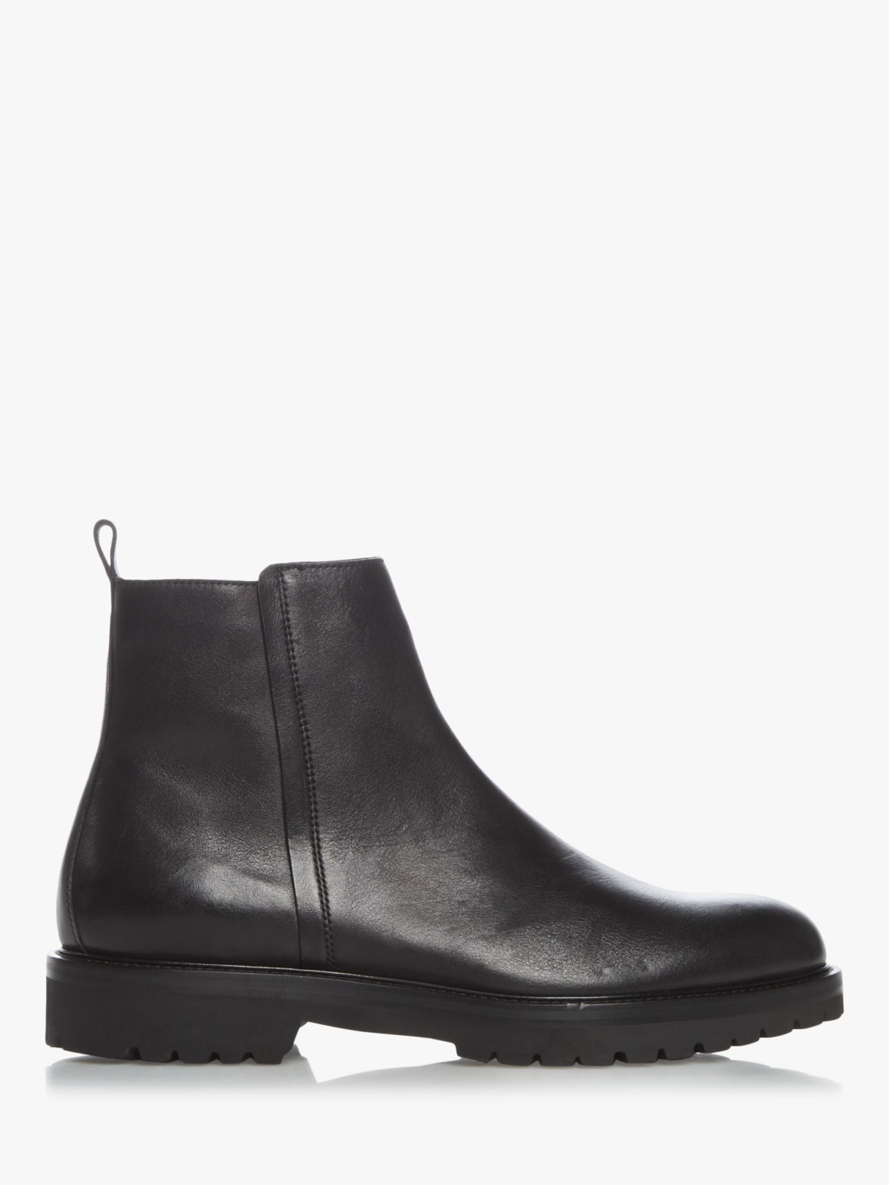 Dune Crate Leather Heavy Tread Boots, Black