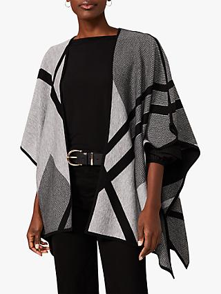 Phase Eight Nel Abstract Print Reversible Cape, Grey/Black