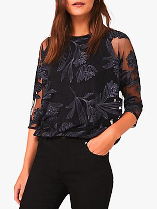 Phase Eight Reine Floral Blouse, Navy