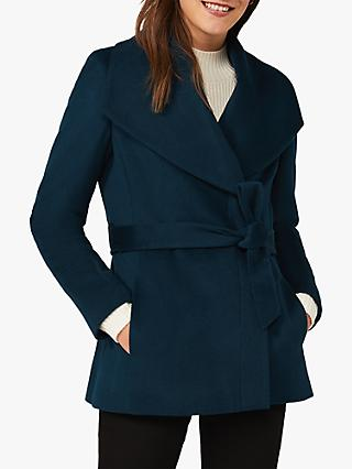 Phase Eight Nicci Knot Belt Wool Blend Short Coat, Petrol