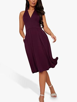 Chi Chi London Marlia Pleated Midi Dress, Berry