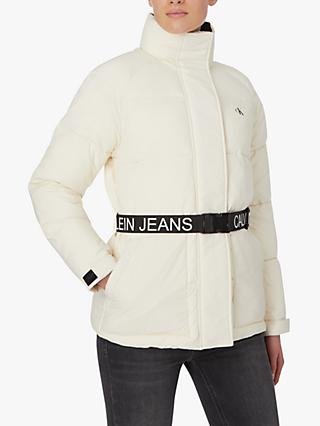 Calvin Klein Logo Belt Puffer Jacket, Soft Cream