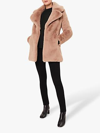 Hobbs Bethany Faux Fur Coat, Neutral