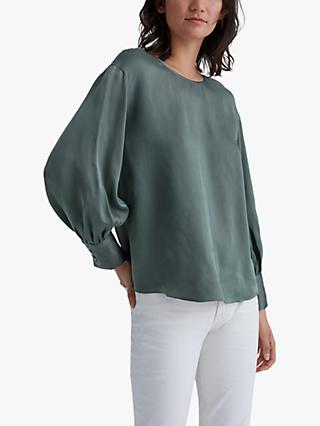 Club Monaco Balloon Sleeve Blouse, Black Olive