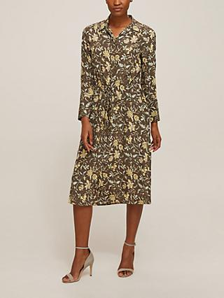 Club Monaco Silk Floral Shirt Dress, Grey/Multi