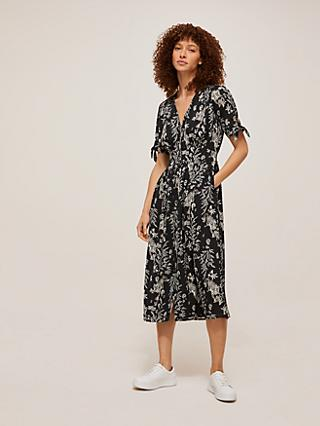 Somerset by Alice Temperley Tiger Fern Shirt Dress, Black/White
