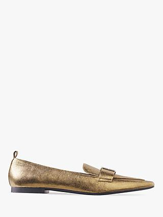 Tommy Hilfiger Leather Polished Metallic Pointed Loafers, Gold