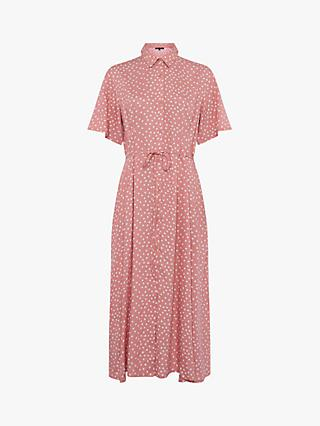 French Connection Polka Dot Midi Dress, Pink