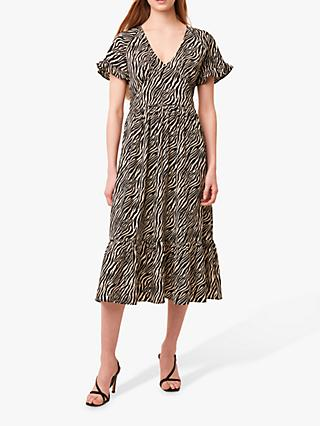 French Connection Geriel Zebra Print Tea Dress, Multi