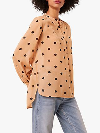 French Connection Polka Dot Collarless Blouse, Nude