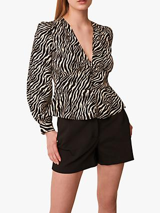 French Connection Geriel Zebra Blouse, Black/Multi