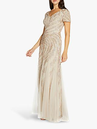 Adrianna Papell Beaded Short Sleeve Floral Embellished Maxi Gown, Biscotti