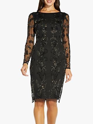 Adrianna Papell Beaded Floral Mini Dress, Black
