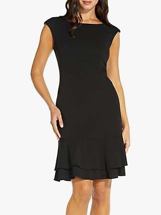 Adrianna Papell Knit Hem Mini Dress, Black