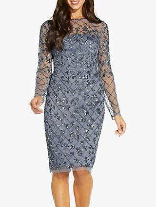 Adrianna Papell Beaded Mesh Dress, Dusty Blue