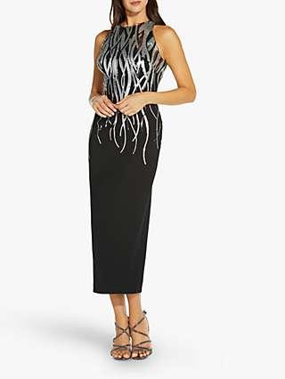 Adrianna Papell Sequin Halter Dress, Black