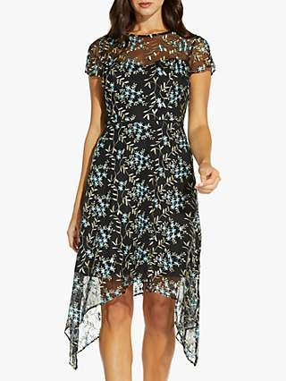 Adrianna Papell Asymmetrical Floral Embroidered Midi Dress, Blue/Multi