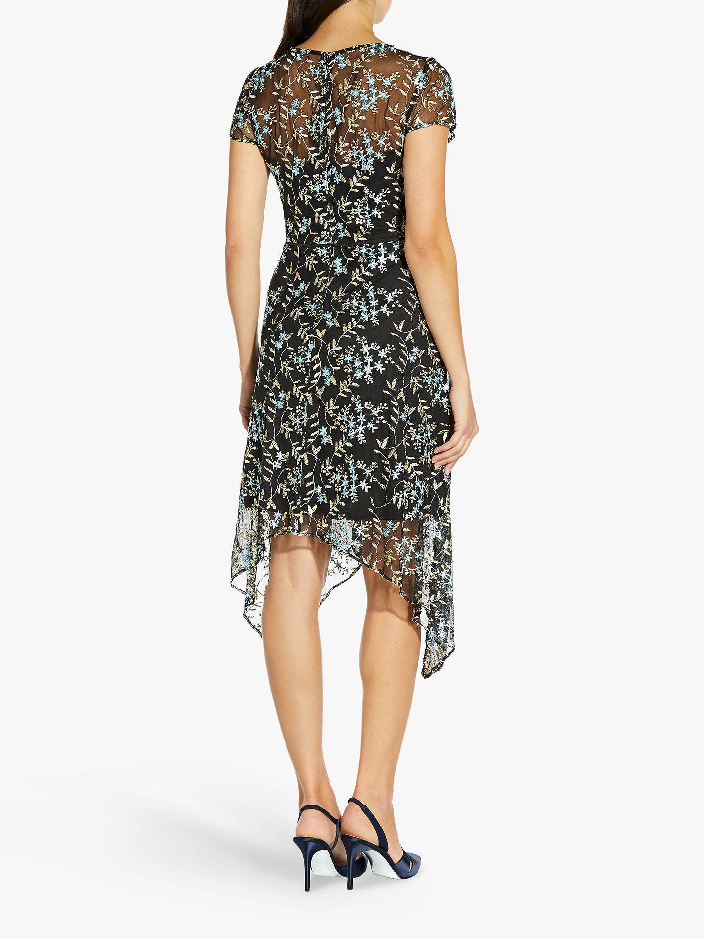 Buy Adrianna Papell Asymmetrical Floral Embroidered Midi Dress, Blue/Multi, 8 Online at johnlewis.com