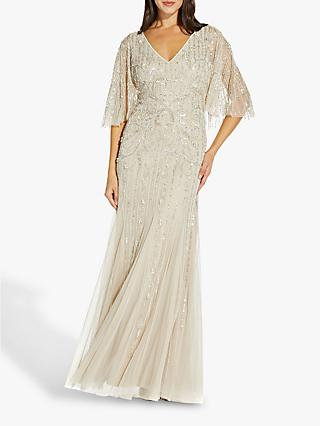 Adrianna Papell Beaded Floral Embellished Maxi Gown, Biscotti