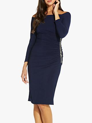 Adrianna Papell Off Shoulder Sequin Dress, Midnight