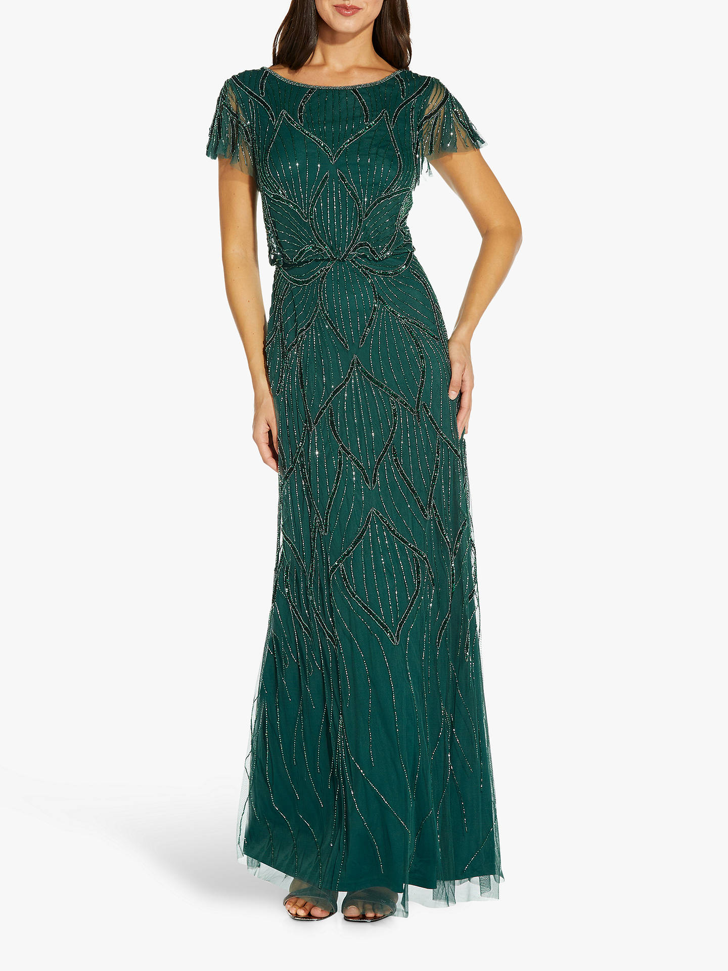 Buy Adrianna Papell Blouson Floral Embellished Maxi Gown, Dusty Emerald, 6 Online at johnlewis.com