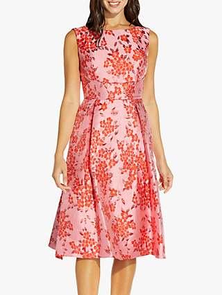 Adrianna Papell Floral Jacquard Midi Dress, Fuchsia