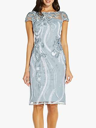 Adrianna Papell Cocktail Floral Embroidered Knee Length Dress, Light Grey