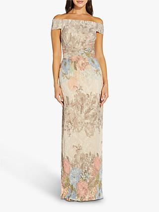 Adrianna Papell Off Shoulder Matelasse Gown, Blush/Multi