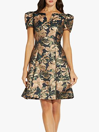Adrianna Papell Lilly Floral Jacquard Mini Dress, Blush/Multi