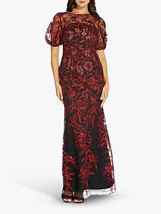 Adrianna Papell Embroidered Illusion Neck Dress, Black/Red