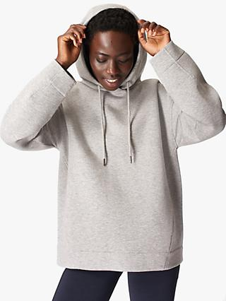 Sweaty Betty Time Out Organic Cotton Blend Hoodie, Cloud Grey Marl