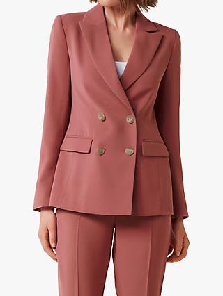 Forever New Crystal Crepe Double Breasted Suit Blazer, Blush